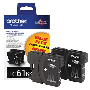 Brother OEM LC61XLBK / paq. 2 Noire