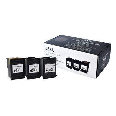 HP No.63XL F6U64AN Noir Premium Ink (3 cartouches. 1 tête)